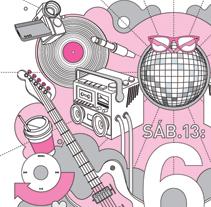Ilustración para el flyer del aniversario de Lalola Club. Um projeto de Design de Laura Asensio - 01-03-2010