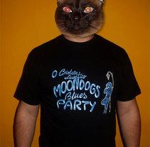 Camiseta promocional del grupo Moondogs Blues Party. Un proyecto de Diseño e Ilustración de Aurora Cascudo Román - 27-03-2011