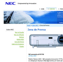 Nec Ibérica sitio corporativo. A Design, Advertising, Software Development&IT project by Jose Valle         - 30.05.2013