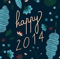 Happy 2014 - Postal. Un proyecto de Diseño e Ilustración de ana seixas         - 30.11.2013