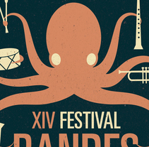 Cartell Festival Bandes Joves - Muro 2014. A Illustration, and Graphic Design project by Miguel Payà Sanchis         - 19.06.2014