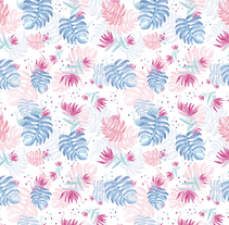 Pattern - Flamingos in hawaii. A Illustration, Art Direction, and Graphic Design project by Esther HIJANO MUÑOZ         - 10.07.2014
