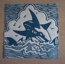 Linoleum Tiburón. Un proyecto de Ilustración de David Rodríguez - 17.09.2014