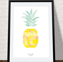 Lámina pineapple. A Illustration project by Marina  Hernanz Rueda         - 02.10.2014