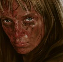 Retrato de Uma Thurman (Kill Bill). Un proyecto de Bellas Artes y Pintura de Adrián Durá Reina - 21-02-2015