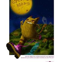 Ilustración: Gato con Zocos, aniversario Eferro. Un proyecto de Ilustración de Carmiña Burana         - 15.08.2016