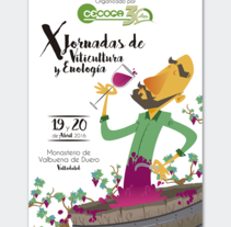 Cartelería + Programa de mano X Jornadas Técnicas de Viticultura y Enología · CECOGA S.A. · Valladolid. A Design, Illustration, and Graphic Design project by Miki Cano         - 06.09.2016