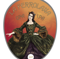 etiqueta cerveza: La Ferrolana Opa Ipa. La Ferrolana, Indian Pale Ale. A Illustration, Br, ing, Identit, and Graphic Design project by carlos rios esarte         - 30.11.2016