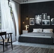 winter bedroom - 3dmax, Vray, Ps. Un proyecto de Diseño, 3D, Arquitectura, Diseño de muebles, Arquitectura interior, Diseño de interiores y Diseño de iluminación de GOEK.         - 23.01.2017
