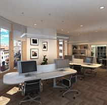Infografías 3D para proyecto de interiorismo en oficinas del edificio La Polar, Santander. Um projeto de 3D e Arquitetura de Juan Pellejero Escobedo         - 14.01.2017