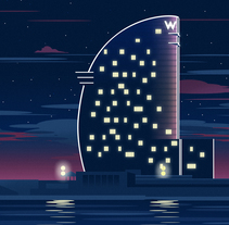W Barcelona. A Illustration, Architecture, Graphic Design, and Vector illustration project by Juan Sierra - 18-05-2017