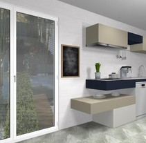 Diseño de cocina moderna de lineas horizontales . A 3D project by Marcela Carla Aboal         - 14.06.2017