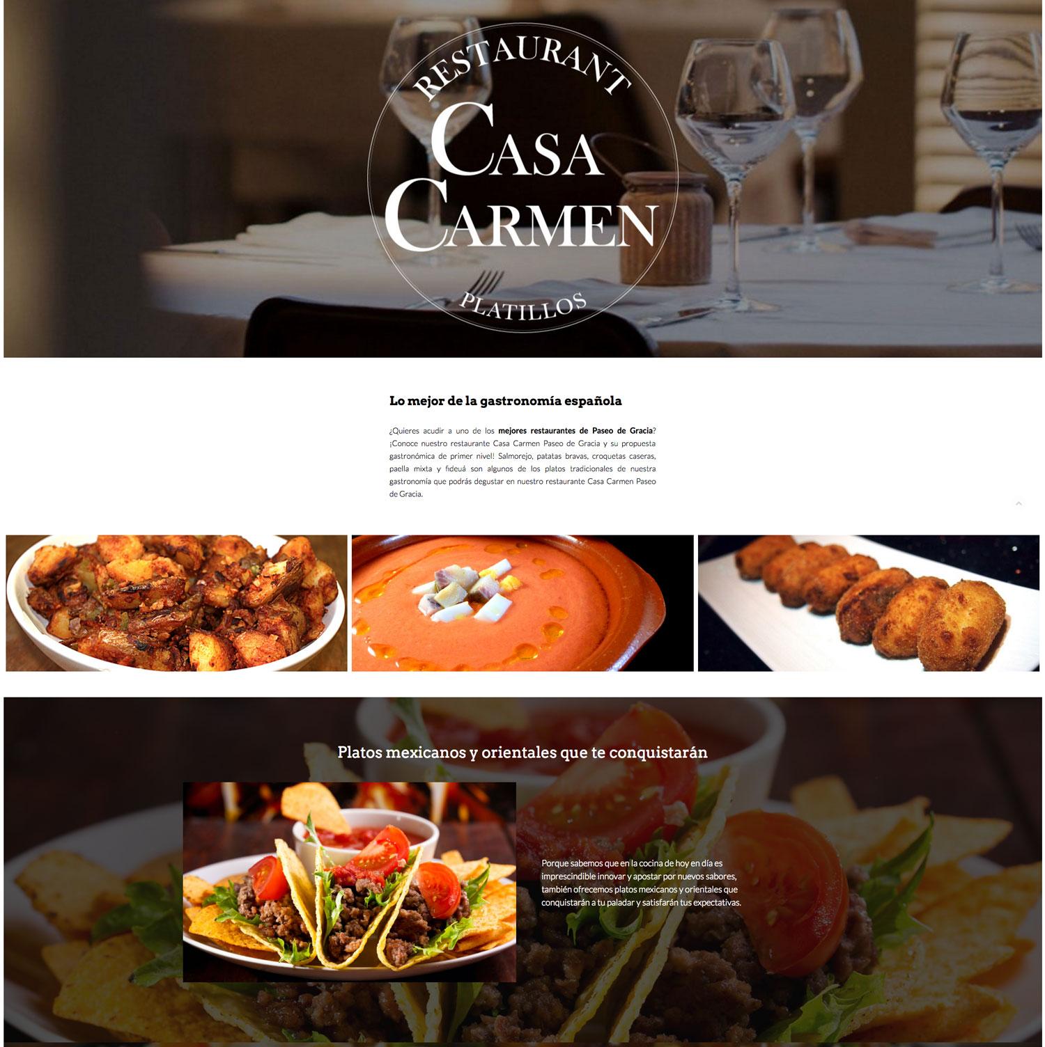 Landing page restaurante casa carmen paseo de gracia - Restaurantes en paseo de gracia barcelona ...