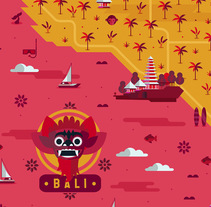 Map of Bali. A Design, Illustration, and Vector illustration project by Hugo Puente - 20-07-2017