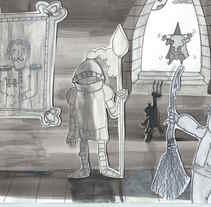 JUAN SIN MIEDO,  es el resultado de mi primer contacto con el collage y la tinta, con claroscuros que generen la emoción de temor pero con un toque divertido.. Um projeto de Ilustração de Carolina Fontanals Riola         - 22.10.2017