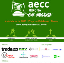 Cartel IV Cursa Contra el Càncer #gironaenmarxa. Un proyecto de Diseño gráfico de Adrià Salido Zarco         - 11.01.2018