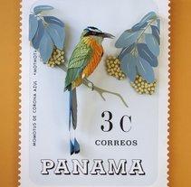 Sello postal Panama . Un proyecto de Ilustración, Diseño de personajes, Diseño editorial, Bellas Artes, Paisajismo y Paper craft de Diana Beltran Herrera         - 30.01.2018