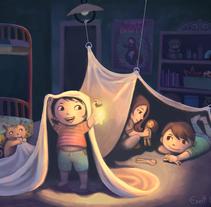 Kids at night - shelter. Un proyecto de Ilustración de Evelt Yanait         - 20.02.2018